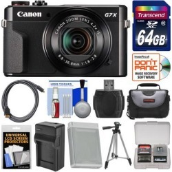 Canon PowerShot G7 X Mark II Wi-Fi Digital Camera with 64GB Card + Case + Battery & Charger + Tripod + Kit
