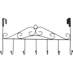 over the Door Hook Rack Stainless Steel 16.73 Inch Length 7 Coat Hooks Robe Holder Hanger Organizer Black
