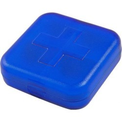 Square Shaped 4 Compartments Medicinal Pills Holder Clear Blue