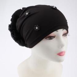 Women's Head Wrap Big Flower Cancer Chemo Hat Beanie Scarf Turban Cap Black