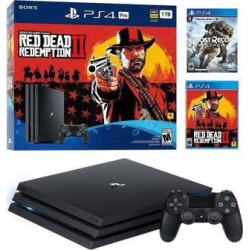 PlayStation 4 Pro 1TB Red Dead Redemption 2 Jet Black 4K HDR Gaming Console Bundle With Tom Clancy's Ghost Recon Breakpoint - 2019 New PS4 Game!