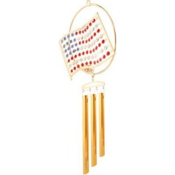 New Matashi CTW0152 24K Gold Plated Flag Wind Chime Made with Genuine Matashi Crystals