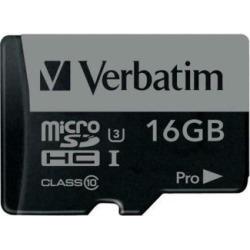 Verbatim 16GB Pro 600X microSDHC Memory Card with Adapter, UHS-I U3 Class 10 - C