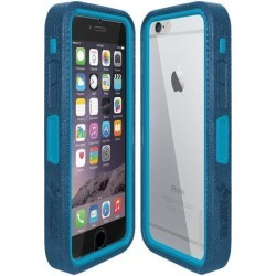 Amzer CRUSTA Rugged Case Blue on Blue Shell Tempered Glass with Holster for iPhone 6 Plus