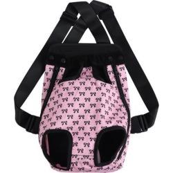Pet Dog Carrier Pink Bowknot Adjustable Front Chest Backpack Pet Cat Puppy Holder Bag for Travel Outdoor Medium