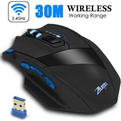 ESTONE F15 2.4G Wireless Portable Mobile Mouse Optical Mice with USB Receiver, 4 Adjustable DPI Levels, 9 Buttons for Notebook, PC, Computer.