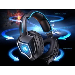 SADES Spirit Wolf USB Gaming Headset 7.1 Surround Sound Stereo Headphone with Mic, Over-the-Ear Noise Isolating, Noise canceling earphone