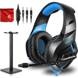 ONIKUMA K1-B Pro Blue Gaming Headset Over-Ear Surround Sound Noise Cancelling Microphone Bundle with Headphone Stand for PC, Xbox One, PS4.