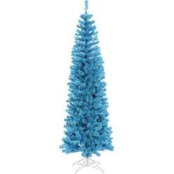 10' Pre-Lit Sparkling Pencil Artificial Christmas Tree - Blue Lights