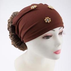 Women's Head Wrap Big Flower Cancer Chemo Hat Beanie Scarf Turban Cap Brown