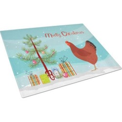 New Hampshire Red Chicken Christmas Glass Cutting Board Large BB9210LCB