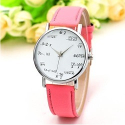 Fashion Quartz Watch Math Formula Round Dial PU Leather Casual Wrist Watches for Women and Men Pink
