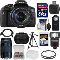 Canon EOS Rebel T6i Wi-Fi Digital SLR Camera & EF-S 18-135mm IS STM Lens with 75-300mm III Lens + 64GB Card + Case + Filters + Tripod + Flash +.