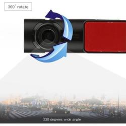 Single Lens 360 Degree Panorama Driving Recorder 1080P High Definition Mini Tachograph Camera Support Night Vision black