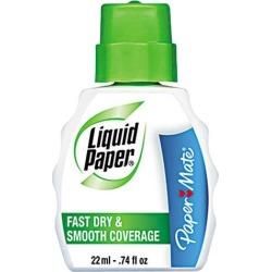 Paper Mate Liquid Paper 5640115 Fast Dry Correction Fluid, 22 ml Bottle, White, 12/Pack