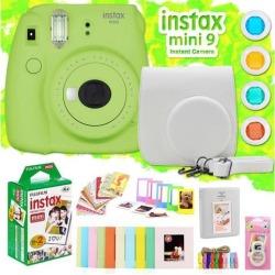Fujifilm Instax Mini 9 Instant Camera w/ Deco Gear Accessories & Film (Lime Gree