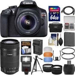 Canon EOS Rebel T6 Wi-Fi Digital SLR Camera & EF-S 18-55mm IS II with 55-250mm IS STM Lens + 64GB Card + Case + Flash + Battery & Charger + Tripod Kit