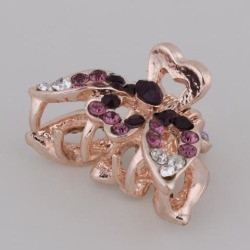 Women's Metal Vintage Butterfly Hair Claw Clamps Crystal Hair Clips Purple