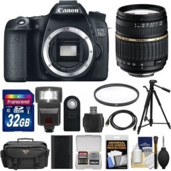 Canon EOS 70D Digital SLR Camera Body with 18-200mm VC Lens + 32GB Card + Flash + Battery + Case + Tripod + Filter + Kit