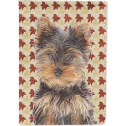 Fall Leaves Yorkie Puppy / Yorkshire Terrier Flag Garden Size KJ1209GF
