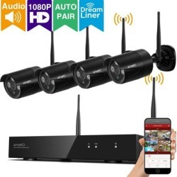 xmartO Auto-Pair 4 Channel 1080p HD Wireless Security Camera System with 4x 1080p HD Weatherproof Day Night WiFi Cameras and 1TB Hard Drive found on Bargain Bro India from Newegg Business for $449.99