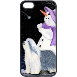 Snowman with Bearded Collie Cell Phone Cover IPHONE 5