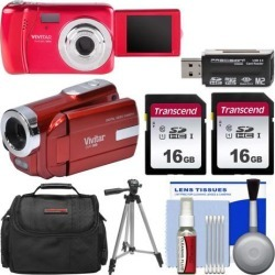 Vivitar ViviCam VXX14 Selfie Digital Camera & DVR-508 HD Camcorder Kit Red