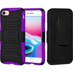 Rugged TUFF Hybrid Armor Hard Defender Case with Holster - Black/ Dark Purple for iPhone 8
