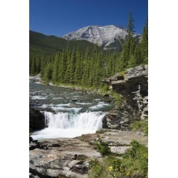 Posterazzi DPI1882666 Waterfalls with Rock Ledge & Mountain In The Background - Alberta, Canada Poster Print, 13 x 20