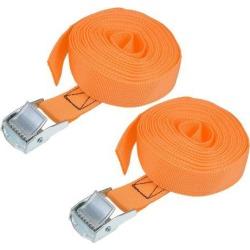 4M x 25mm Lashing Strap Cargo Tie Down Straps w Cam Lock Buckle 250Kg Work Load, Orange, 2Pcs