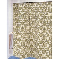 Carnation Home Fashions Damask Fabric Shower Curtain in Sage/Ivory