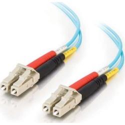 C2G 33046 OM3 Fiber Optic Cable - LC-LC 50/125 10Gb Duplex Multimode PVC Fiber Cable, Aqua (6.6 Feet, 2 Meters)