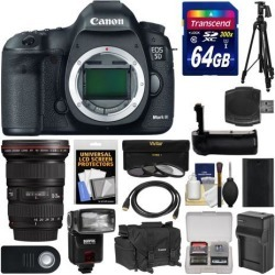 Canon EOS 5D Mark III Digital SLR Camera Body with 16-35mm f/2.8 L Lens + 64GB Card + Case + Flash + Battery/Charger + Grip + Tripod Kit