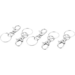 Unique Bargains 5 Pcs Snap Hook Lobster Clasp Swivel Trigger Clips Split Key Ring Chain Findings