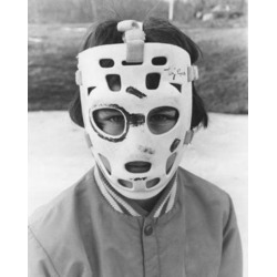 Posterazzi SAL25539999 Portrait of a Boy Wearing a Goalie Mask on His Face Poster Print - 18 x 24 in.