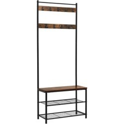Industrial Wood and Metal Coat Rack with Shoe Bench, Black and Brown