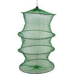 Unique Bargains 0.2' x 0.2' Nylon Flexible Frame Fishing Landing Net Fish Basket Drawstring for Fishermen Crab Green