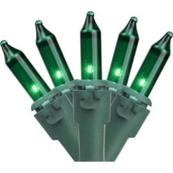 50-Count Green Perm-O-Snap Mini Christmas Light Set, 25.25ft Green Wire