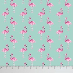 Soimoi Flamingo Print 60 GSM Dressmaking Cotton Fabric For Sewing By The Meter 58 Inches Wide - Mint Green
