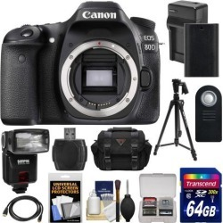Canon EOS 80D Wi-Fi Digital SLR Camera Body with 64GB Card + Battery & Charger + Case + Flash + Tripod + Kit