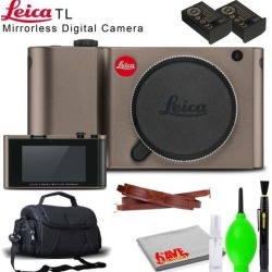 Leica TL Mirrorless Digital Camera (Titanium) with Extra Battery, Carrying Case and Cleaning Kit