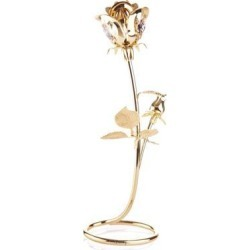 New Matashi CT3185 Beautifully Crafted Rose Table Top Ornament Dipped In 24K Gold Plating Made with Genuine Matashi Crystals