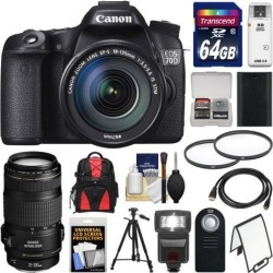 Canon EOS 70D Digital SLR Camera & EF-S 18-135mm IS STM Lens with EF 70-300mm IS Lens + 64GB Card + Backpack + Flash + Battery + Tripod + Accessory.