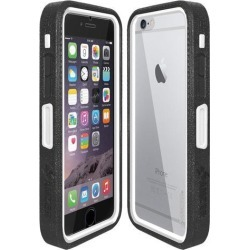 Amzer CRUSTA Rugged Case Black on White Shell Tempered Glass with Holster for iPhone 6 Plus