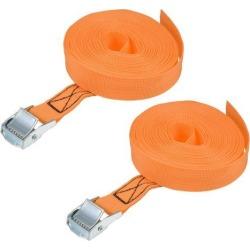 7M x 25mm Lashing Strap Cargo Tie Down Straps w Cam Lock Buckle 250Kg Work Load, Orange, 2Pcs