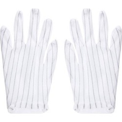 Anti Static Gloves Full Finger Labor Non-slip Glove for Electronics 220x120mm White 2 Pairs