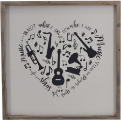 TX USA Corporation Hanging Square Framed Heart Shape Musical Instruments WallDecor