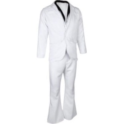 Mens Saturday Night Fever Costume 70s White Suit Hippie Dancer Fancy Dress M