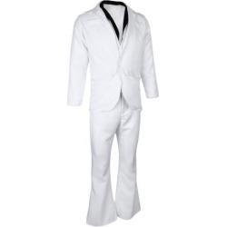Mens Saturday Night Fever Costume 70s White Suit Hippie Dancer Fancy Dress M