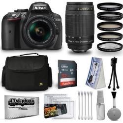 Nikon D5300 24MP DSLR Digital Camera AF-P 18-55mm + NIKKOR Lens 70-300mm + High Definition Professional 5 Piece Filter Kit + 32GB Memory SD Card.